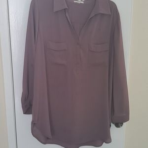 Taupe blouse with roll tab sleeves